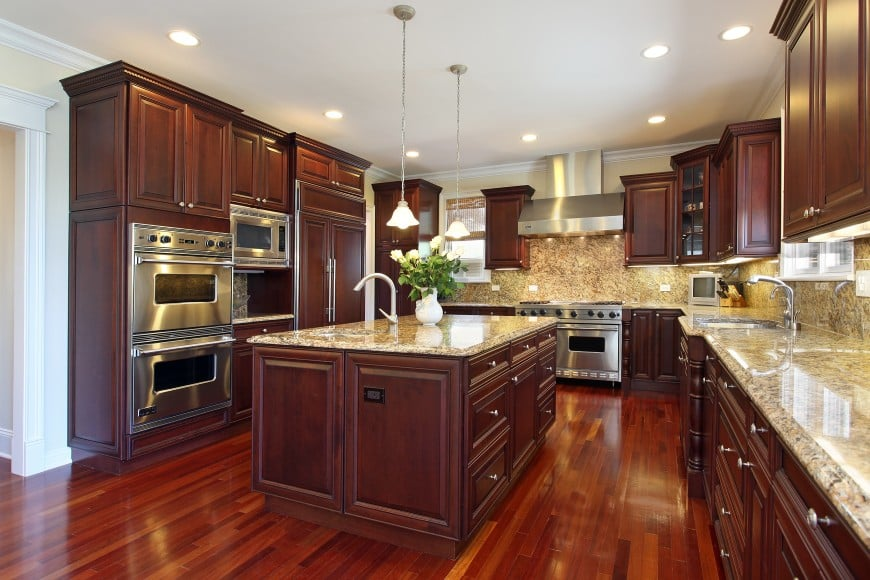 kitchen with cherry wood cabin and island