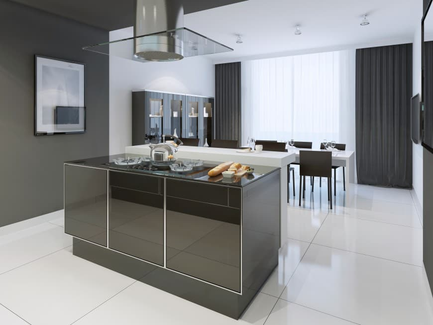 It features a black-colored island counter with a modern design and a glossy finish