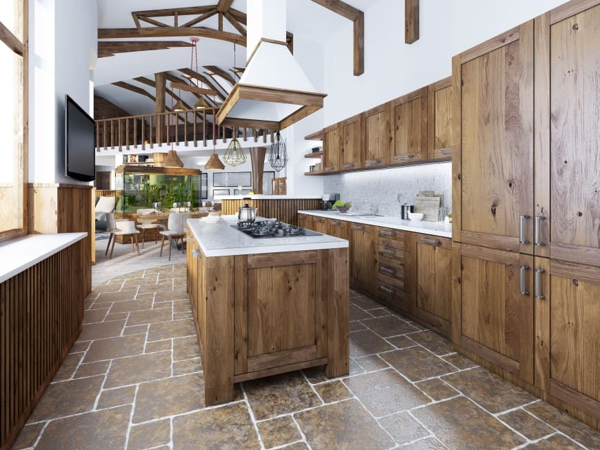 This one-wall kitchen features wooden cabinets with shaker doors and drawer fronts