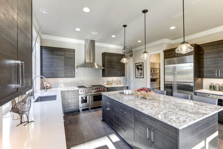 This modern kitchen is equipped with high-end stainless steel appliances