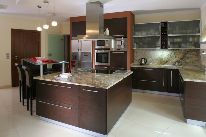 his modern kitchen design has an L-shaped layout with an island counter