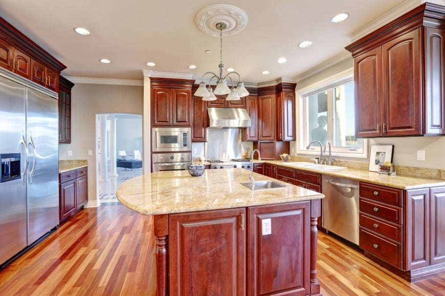 This beautiful kitchen design has a traditional appeal