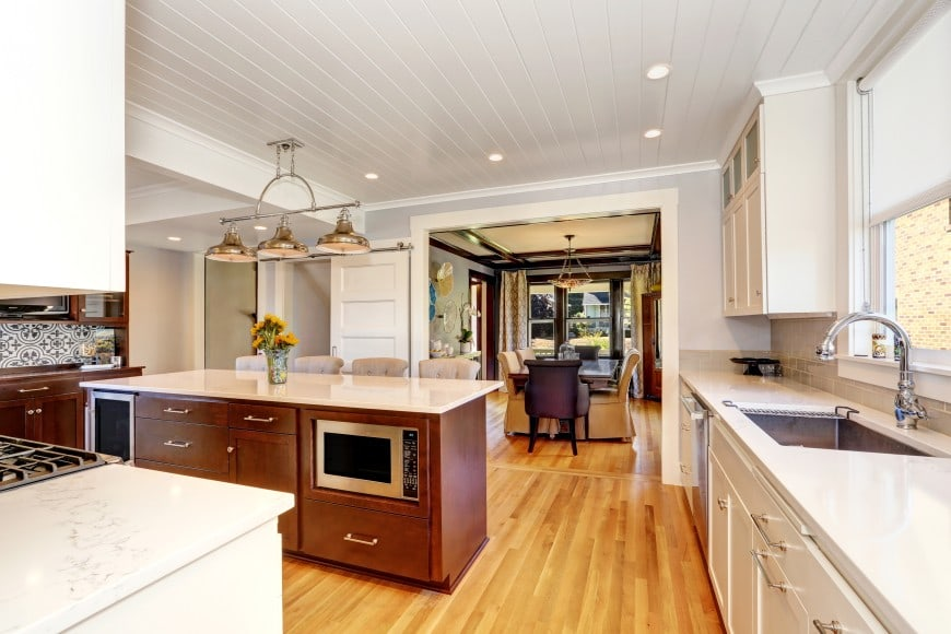 Enjoy a transitional design in white and wood.