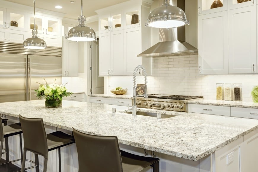 Here is another transitional kitchen design idea set in white