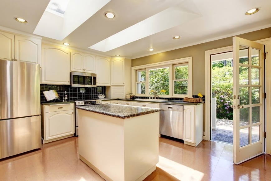 kitchen with eggshell-colored cabinets
