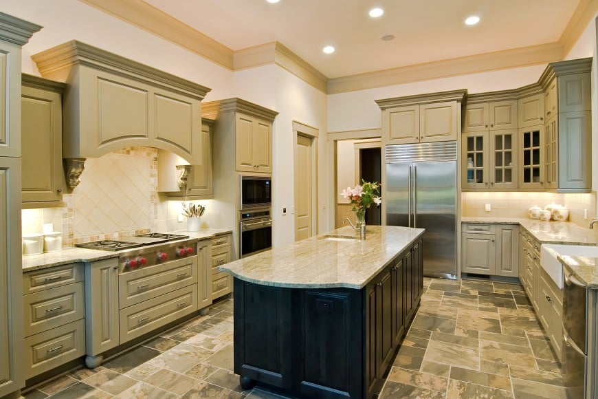 Here is another kitchen design with cabinets and an island counter set in different colors