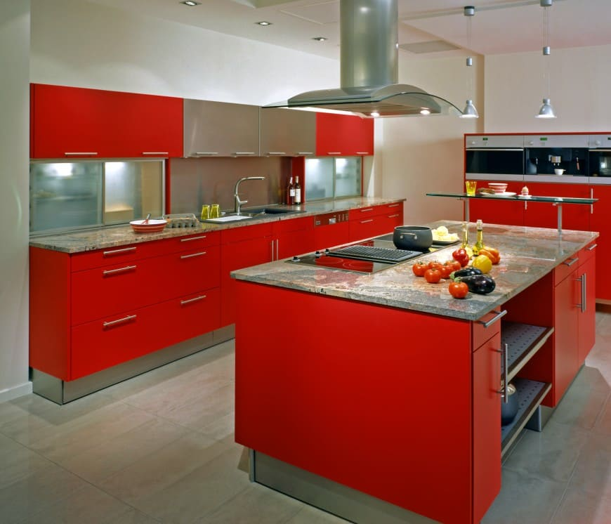 Let's take a break from plain designs with this bright red-colored kitchen.