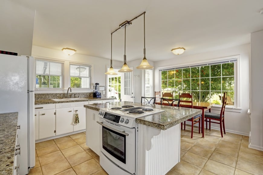 set in white and speckled granite,