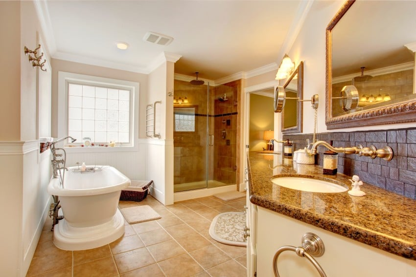 luxury bathroom with granite
