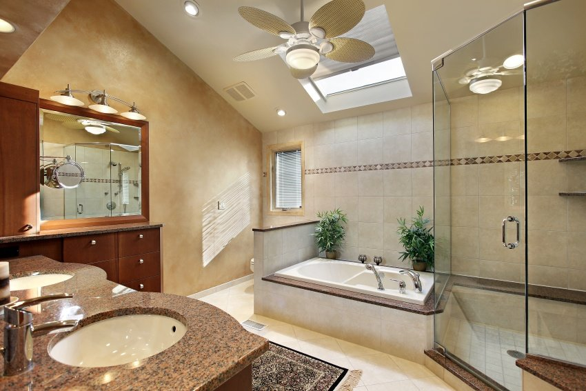 reddish beige granite in bathroom
