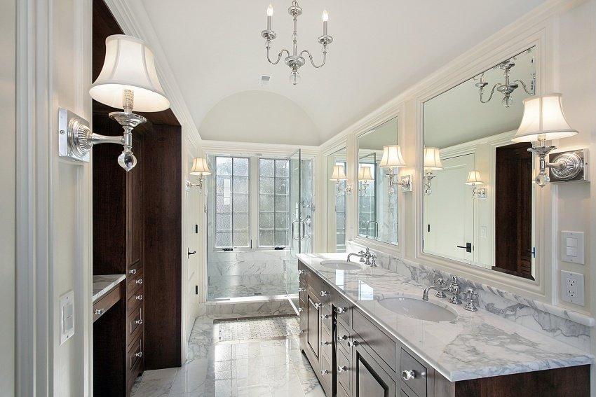 bathroom having granite sink