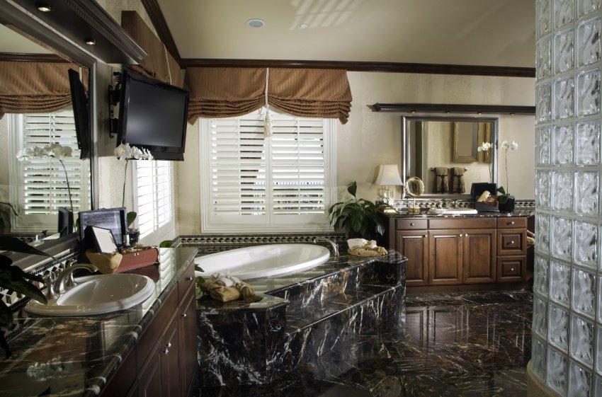 black granite counter bathroom