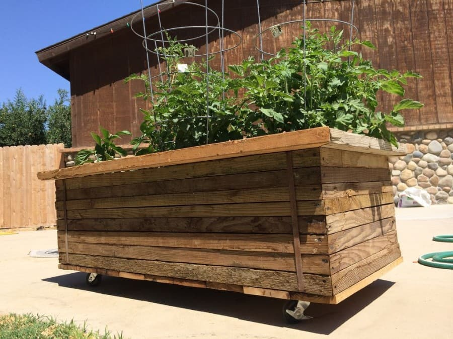 large planter with reclaimed wood