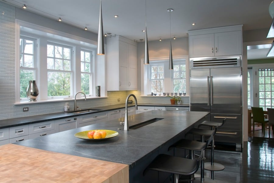soapstone kitchen countertop with butcher block