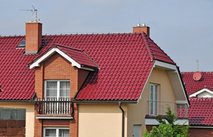 roof with red shingles