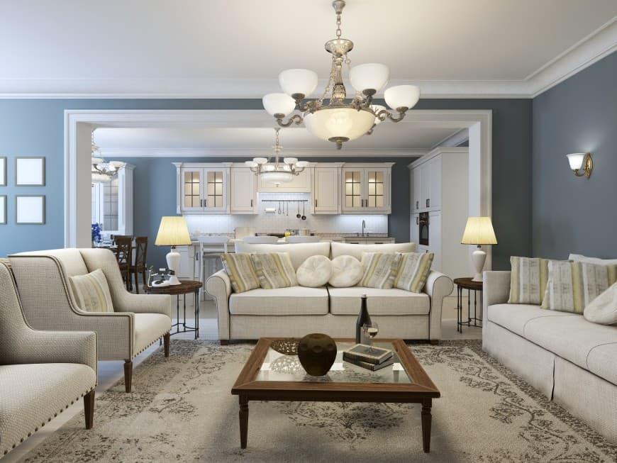 elegant living room design in off-whites and blue