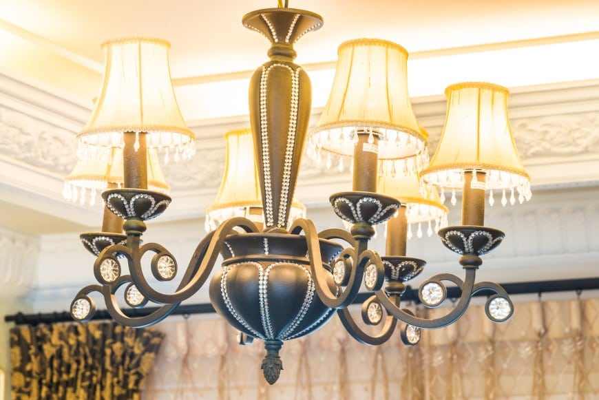 uplight chandelier with textile shades