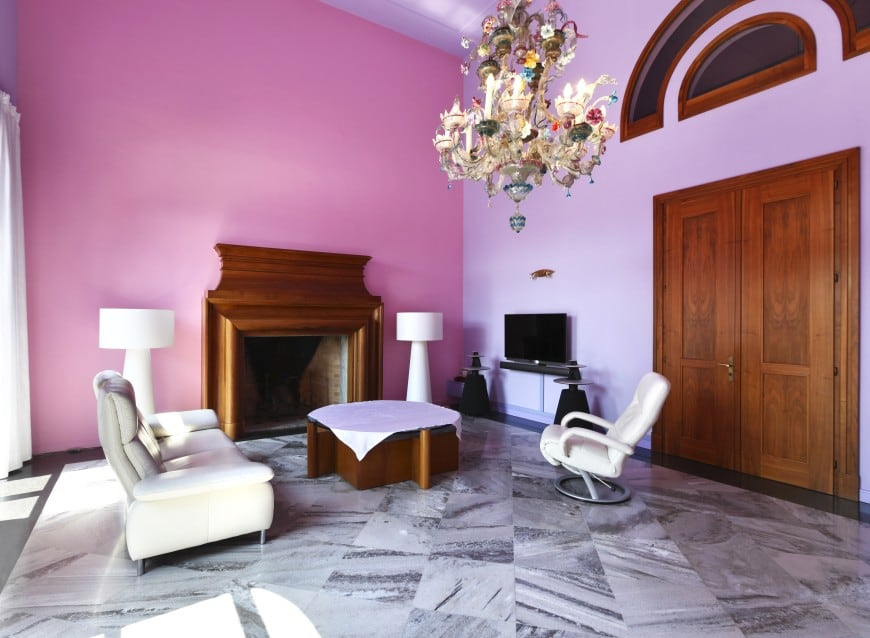 design with purple-painted walls looks fun and inviting