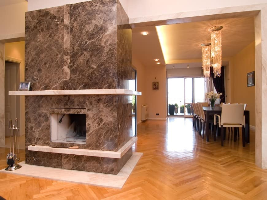 parquet floor in living room