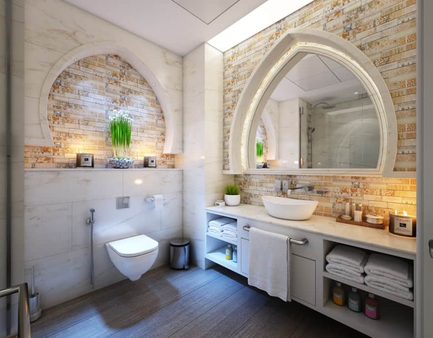 Inspirational bathroom with vanities