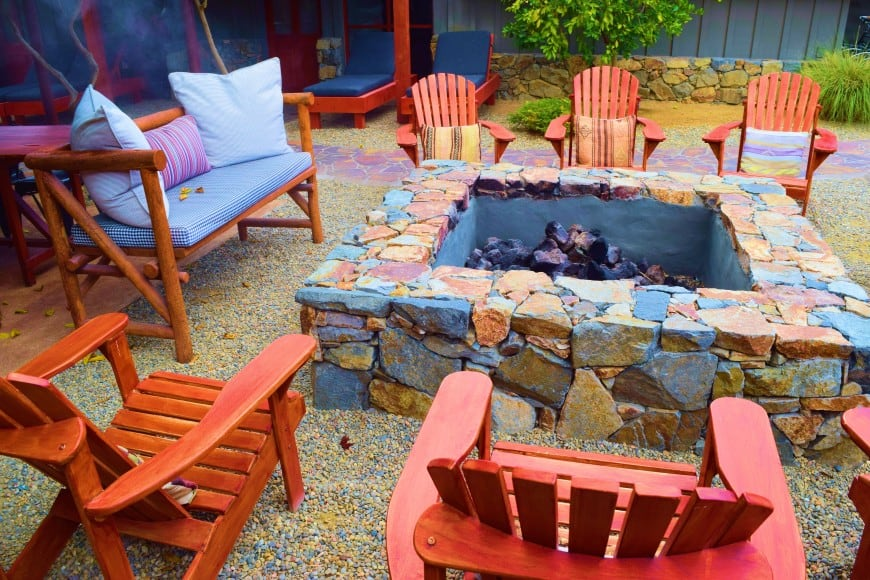 square firepit with unhewn stone