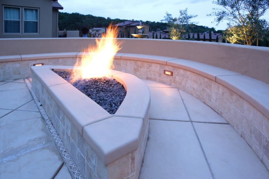 large stone blocks design fire pit