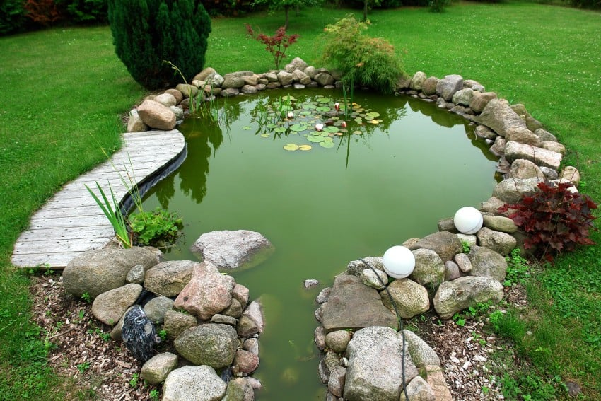 a small water pond in yard