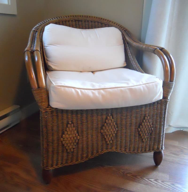 old style traditional wicker chair