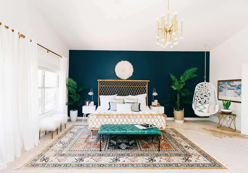 bohemian bedroom teal