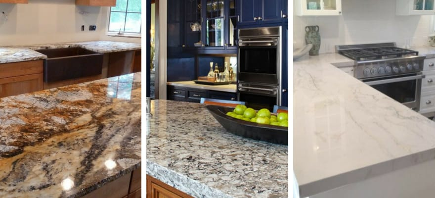 granite, quartz and quartzite materials for kitchen countertops