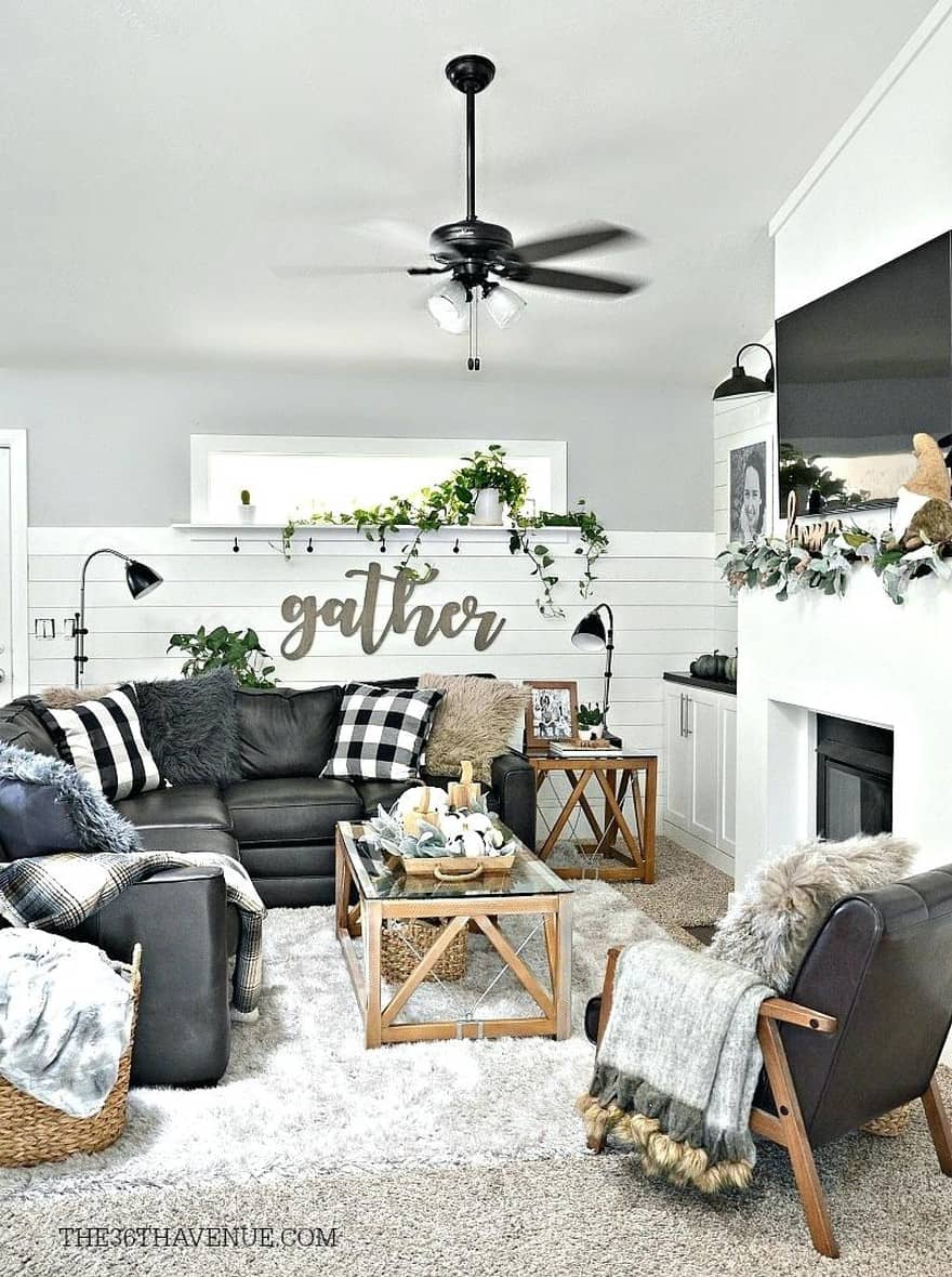 25 Modern Farmhouse Living Room Design Ideas - Decor with ... on Curtains For Farmhouse Living Room  id=75069