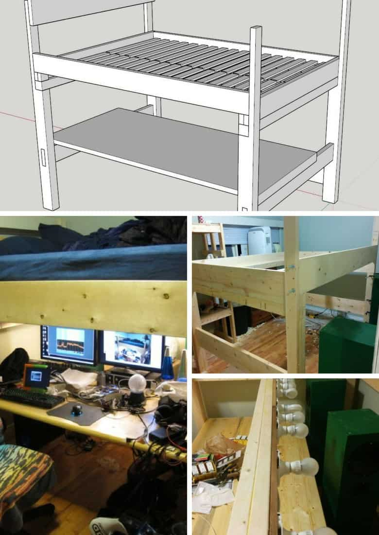space saving loft bed with desk underneath