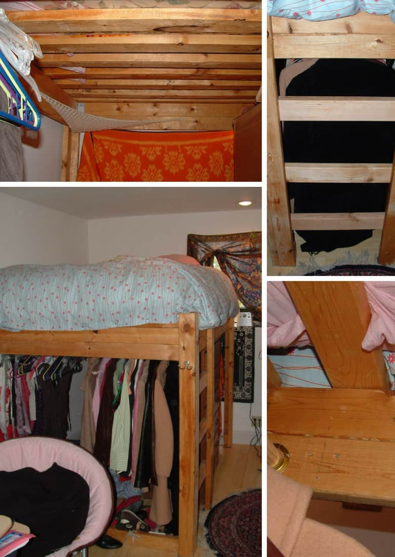 bed with closet under it
