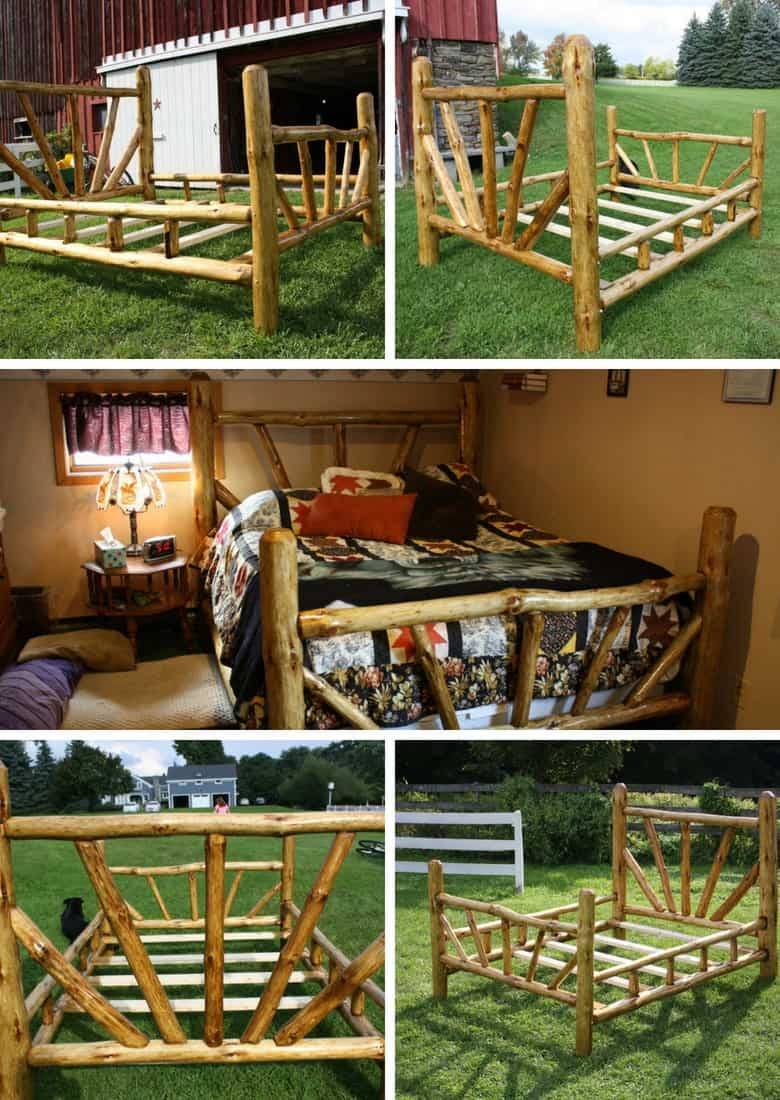 rustic queen size bed frame