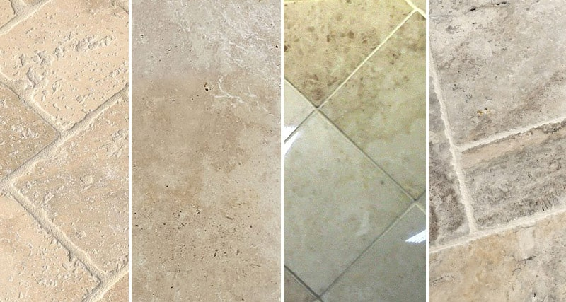 Brushed, polished, tumbled and honed travertine tiles