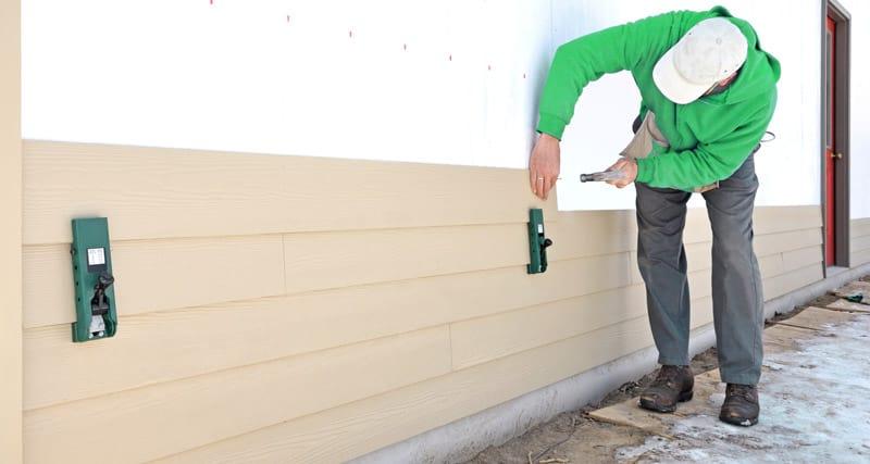 Installation of cedar wood siding
