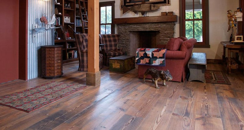 A house with pine wood flooring