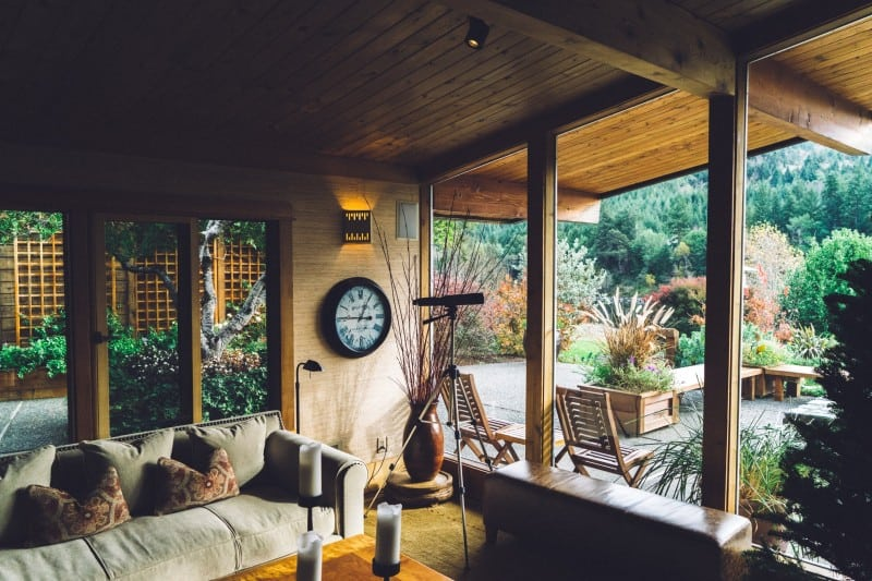 windows in garden area