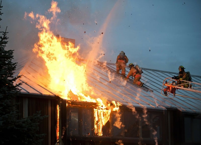 fire on house roof