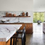 marble worktop in kitchen