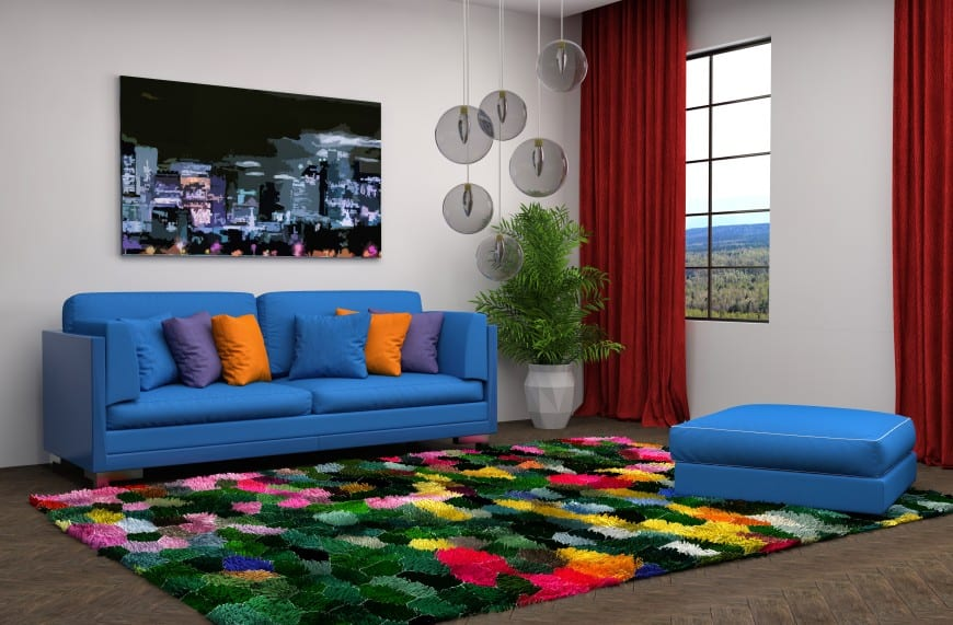 multiple color cushions on sofa