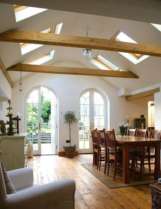 vaulted with wood beams