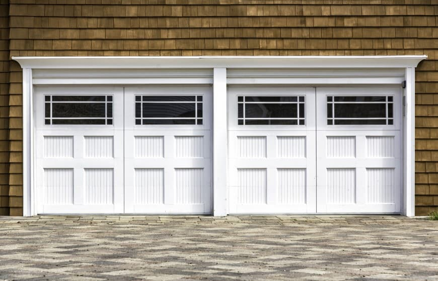 two double doors garage