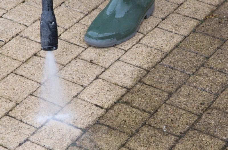 washing the sidewalk