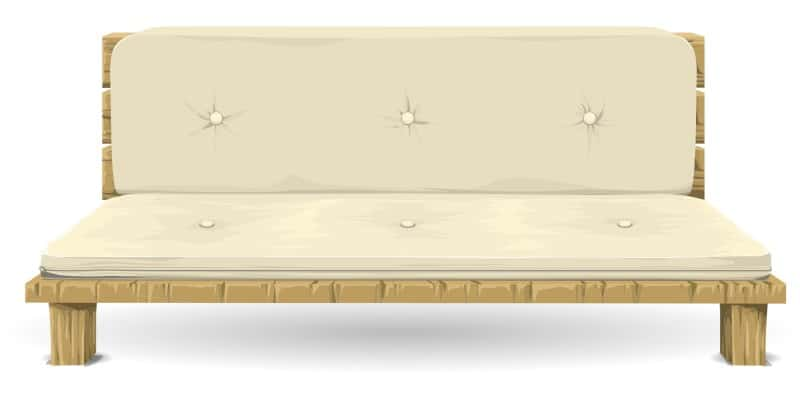 futon on wood frame