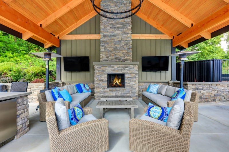 pillows on outside patio furniture