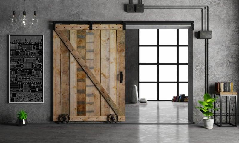 sliding barn door in home