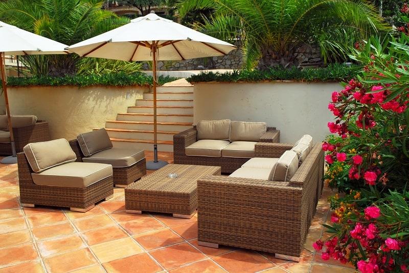 Patio of mediterranean villa in French Riviera with wicker furniture