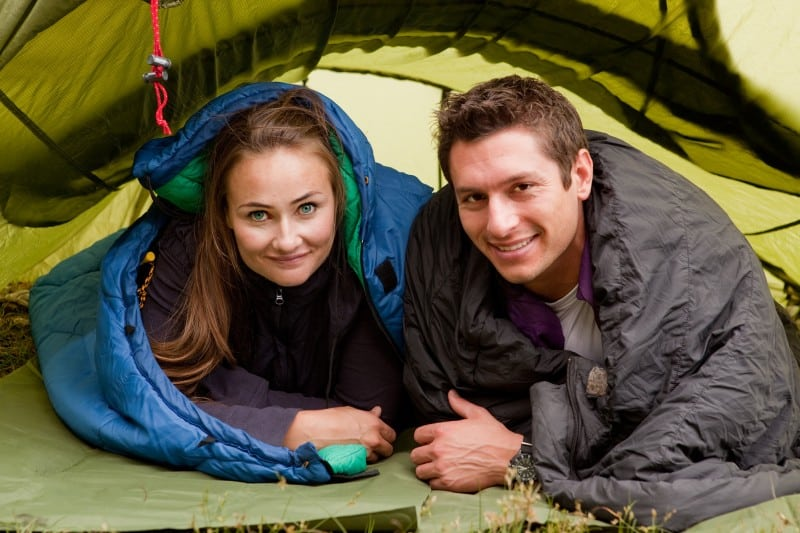 couple in a sleeping bag