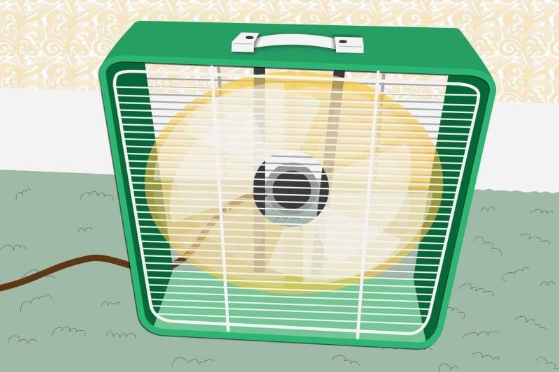 box fan on floor